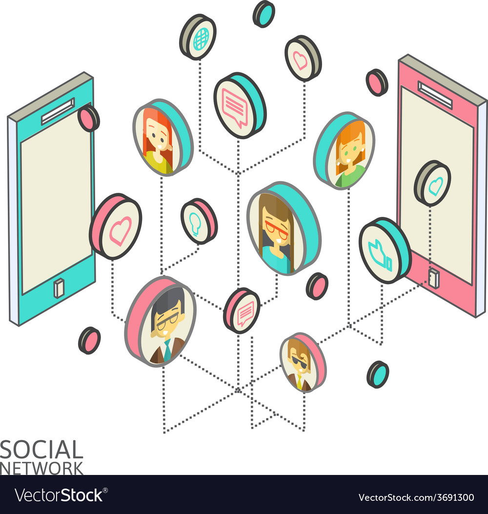 Conceptual image with social networks flat vector | Price: 1 Credit (USD $1)