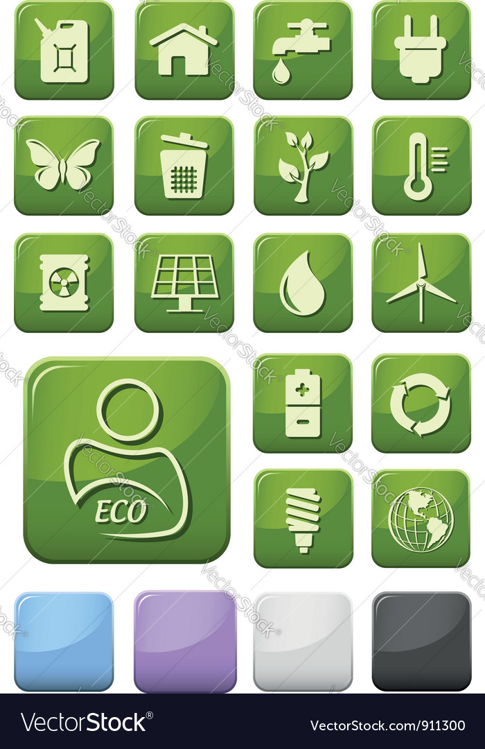 Ecology and environment buttons set vector | Price: 1 Credit (USD $1)