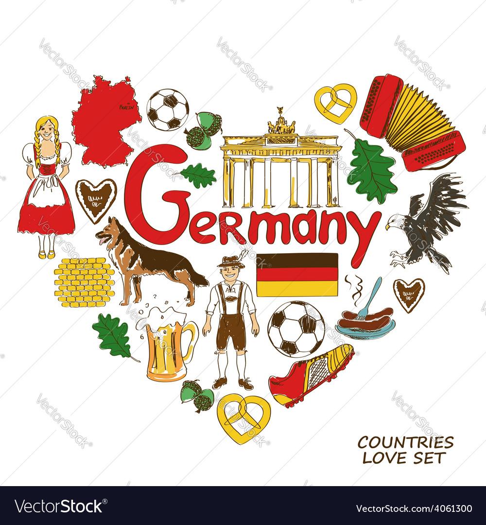 German symbols in heart shape concept vector | Price: 1 Credit (USD $1)