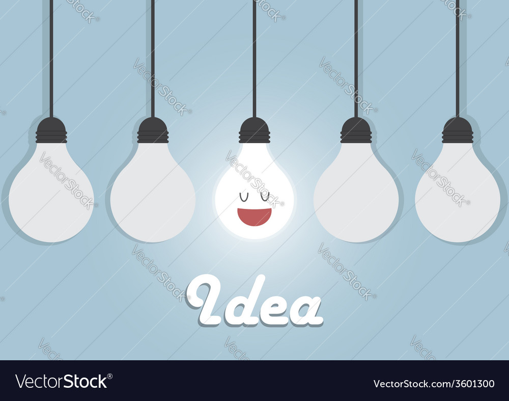 Hanging light bulbs with glowing one bright idea vector | Price: 1 Credit (USD $1)