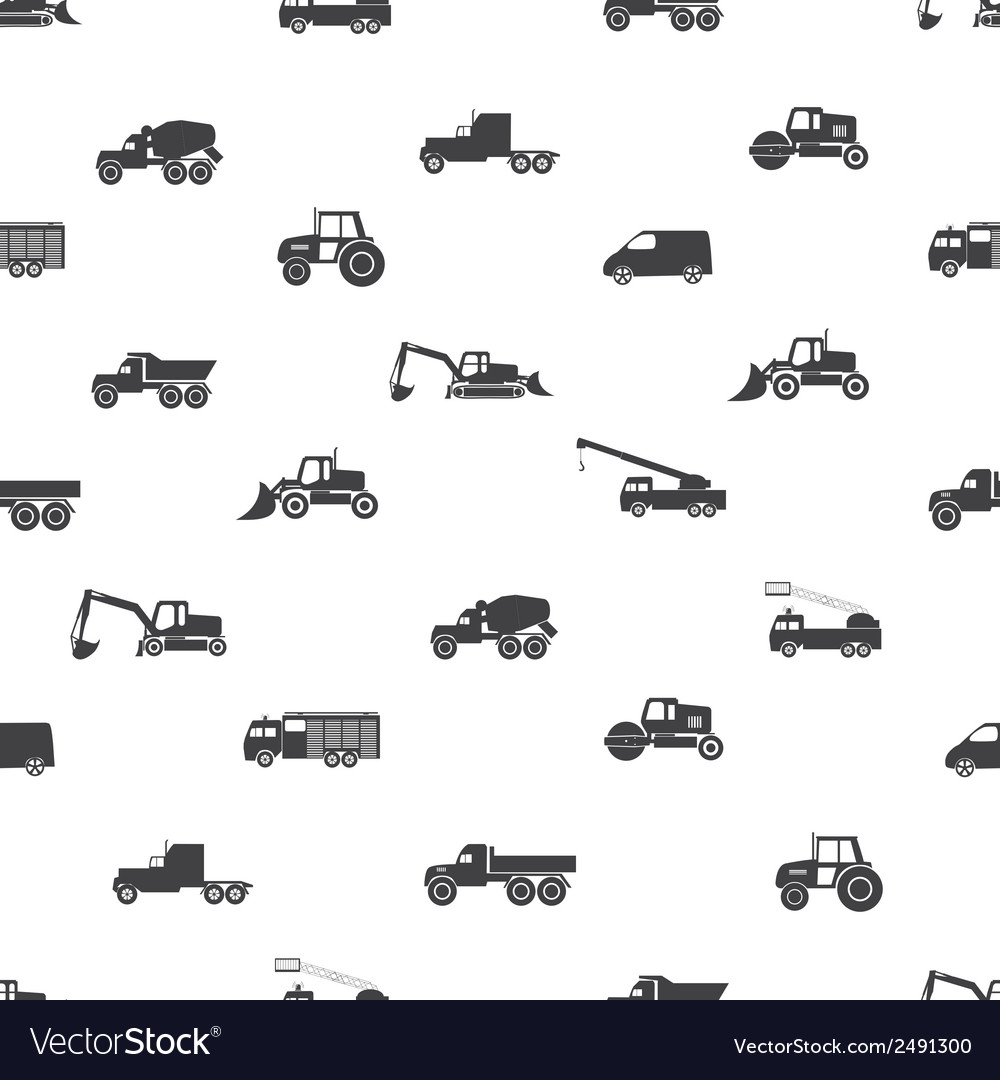 Heavy machinery icons seamless pattern eps10 vector | Price: 1 Credit (USD $1)