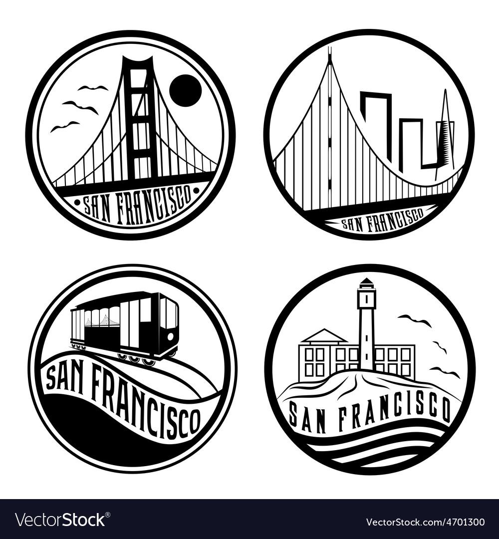 Landmarks of san francisco vintage labels set vector | Price: 1 Credit (USD $1)