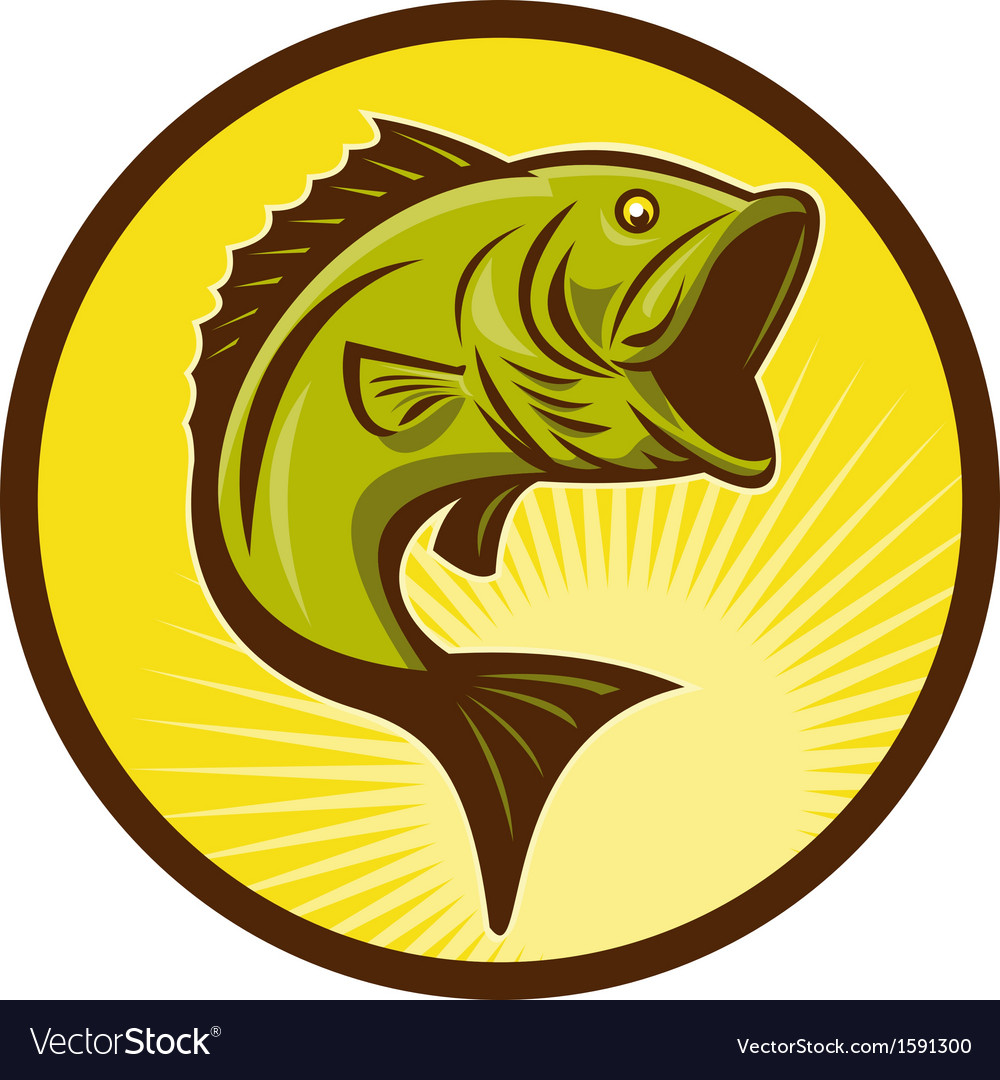 Largemouth bass fish jumping vector | Price: 1 Credit (USD $1)