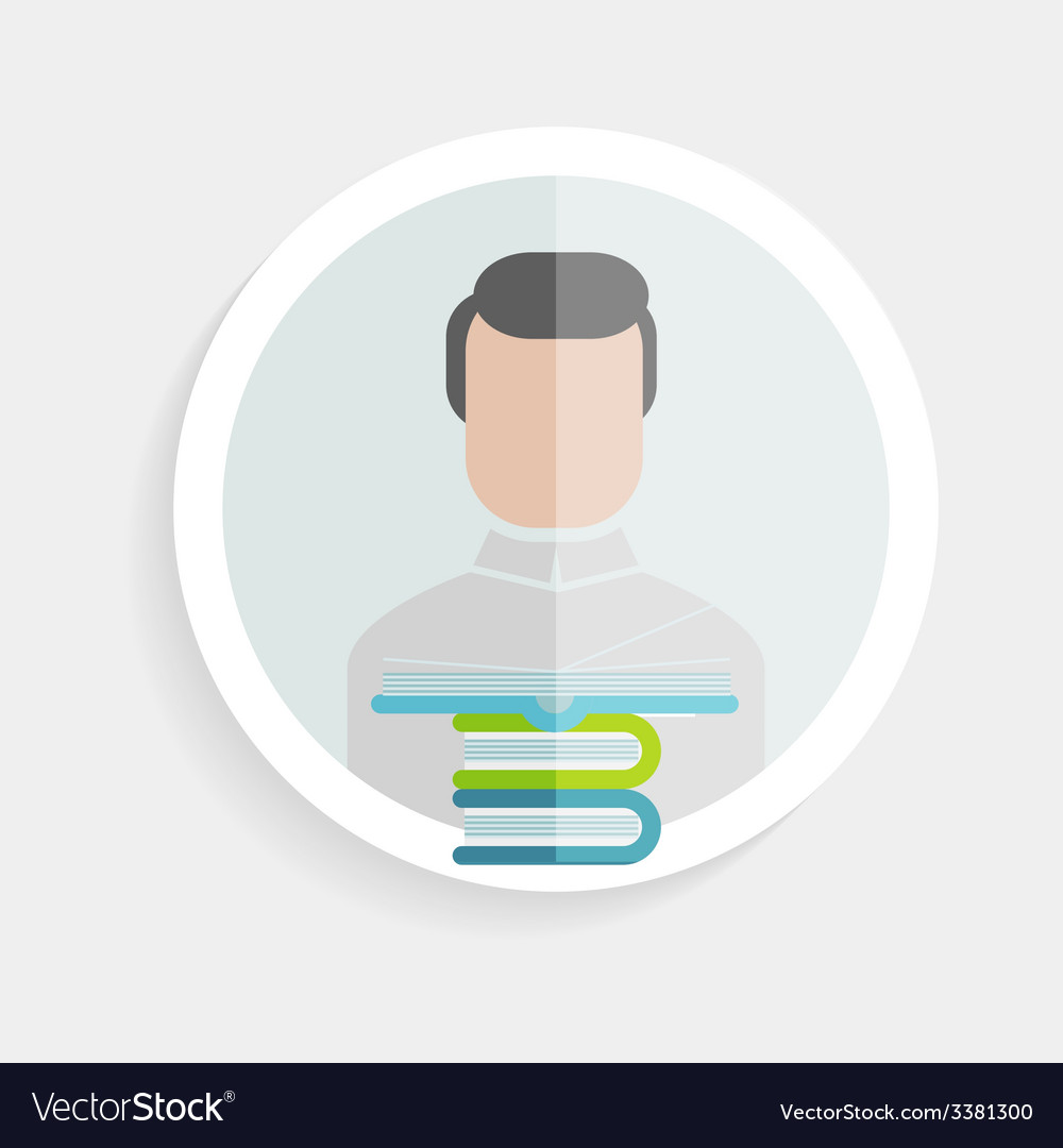Round paper icon successful man vector | Price: 1 Credit (USD $1)