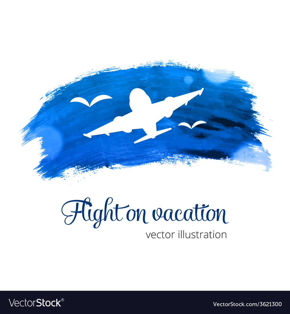 Silhouette plane on the watercolor vector | Price: 1 Credit (USD $1)