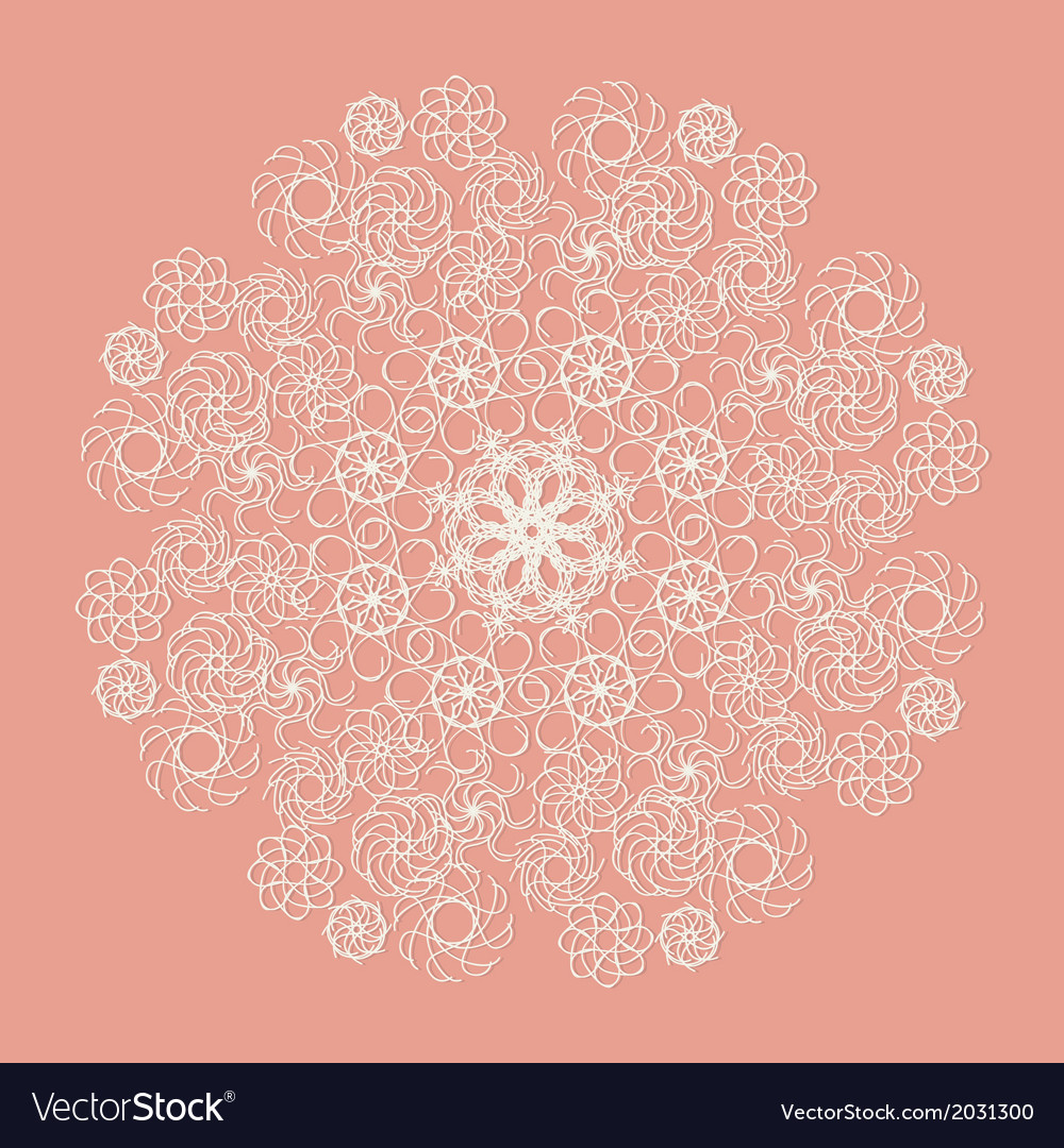 White lace serviette on pink background vector | Price: 1 Credit (USD $1)
