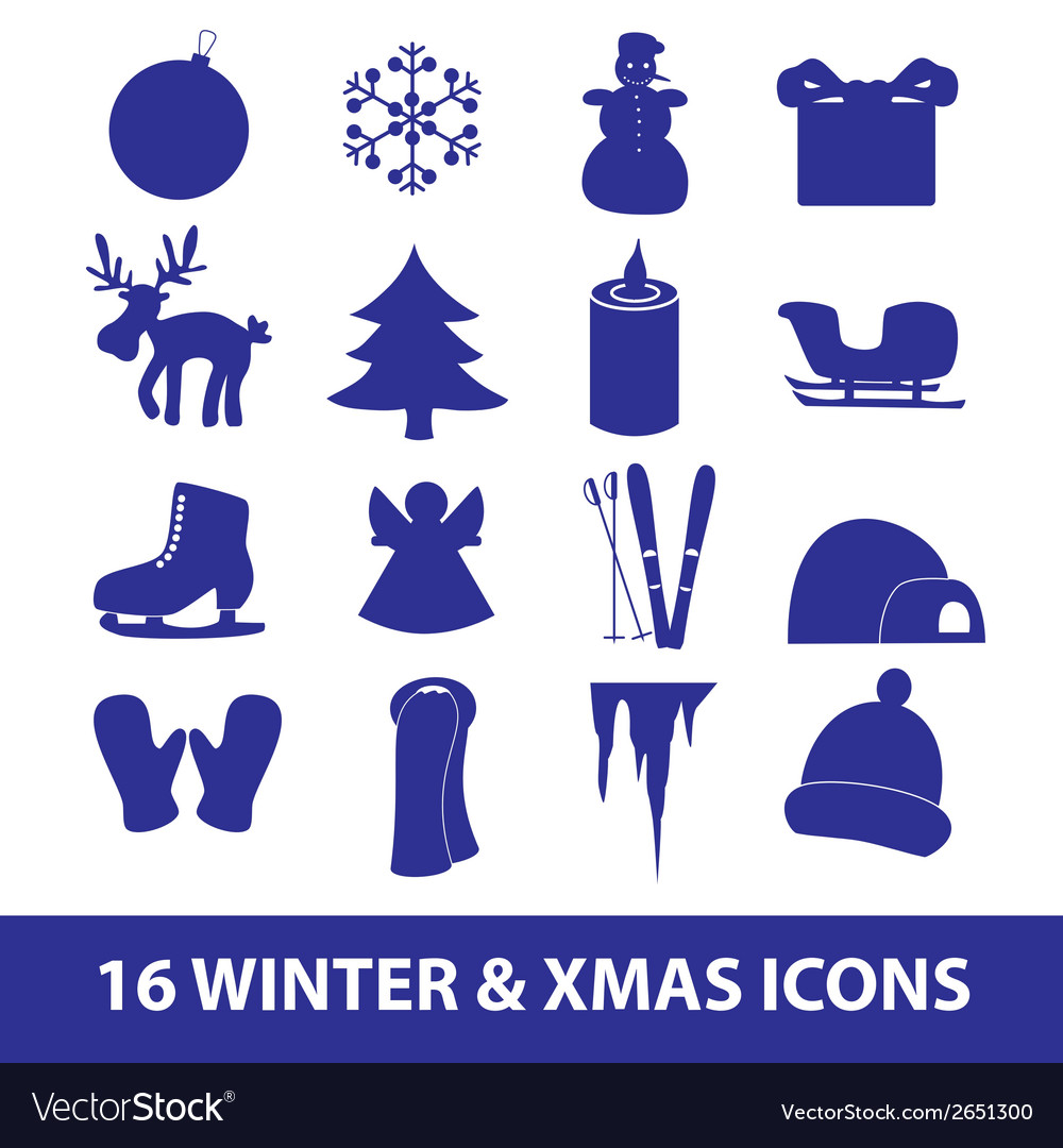 Winter and xmas icon collection eps10 vector | Price: 1 Credit (USD $1)
