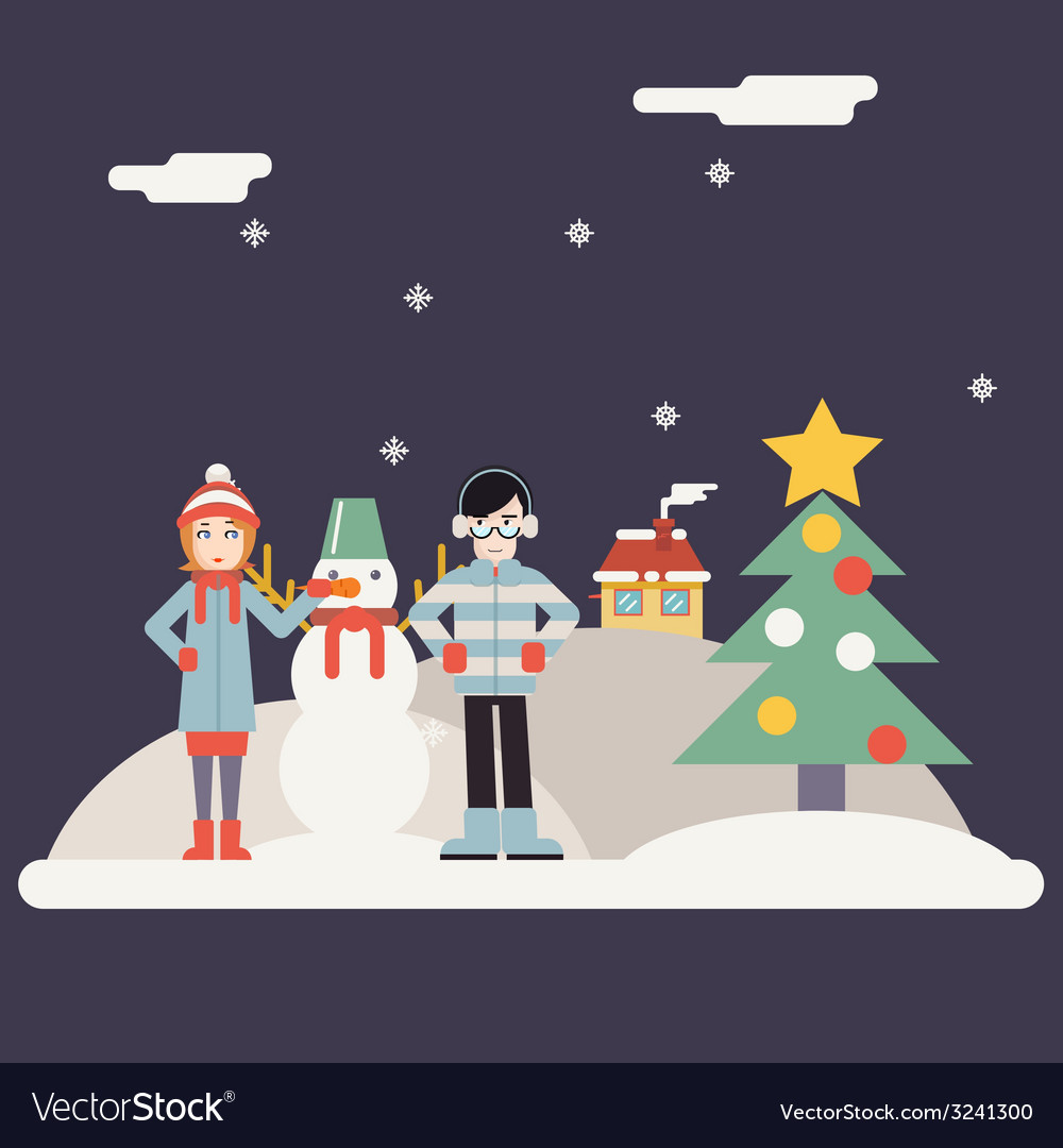 Winter geek hipster happy family characters making vector | Price: 1 Credit (USD $1)