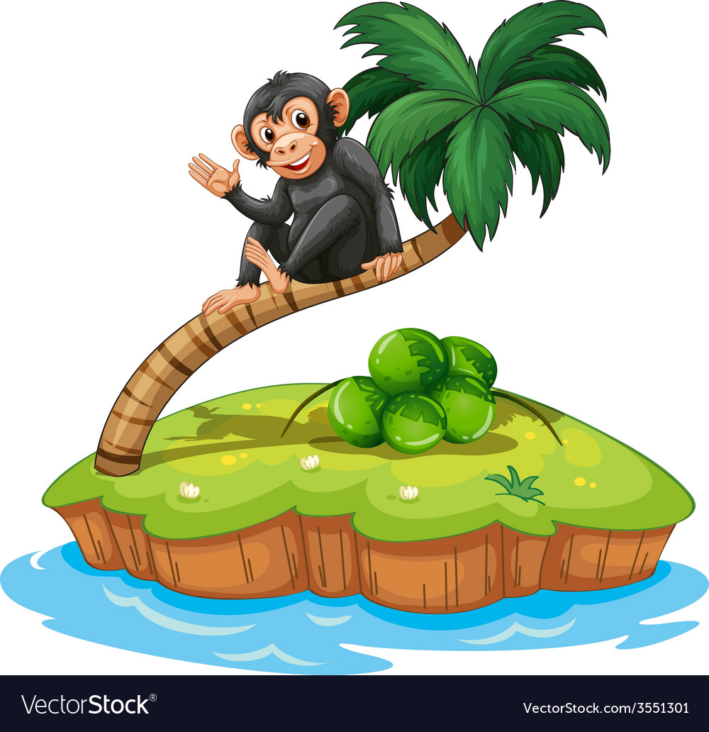 A monkey above the coconut tree vector | Price: 3 Credit (USD $3)