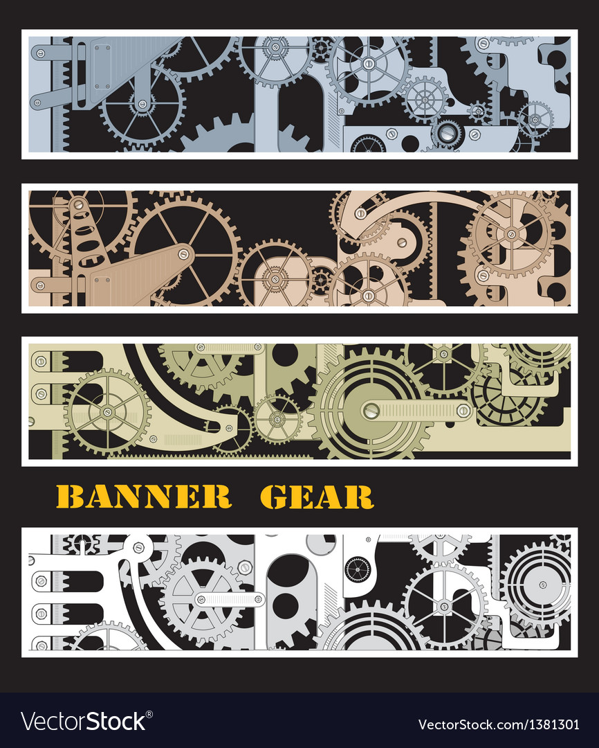 Banners with gears vector | Price: 1 Credit (USD $1)