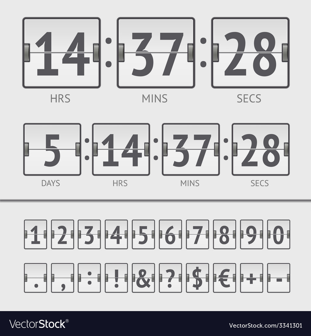 Countdown timer and scoreboard numbers vector | Price: 1 Credit (USD $1)