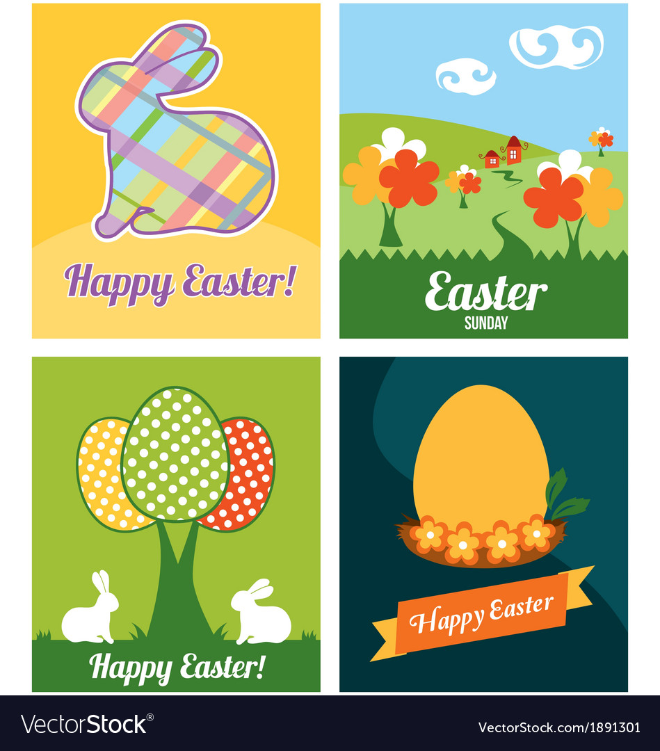 Easter cards with rabbits and eggs vector | Price: 1 Credit (USD $1)