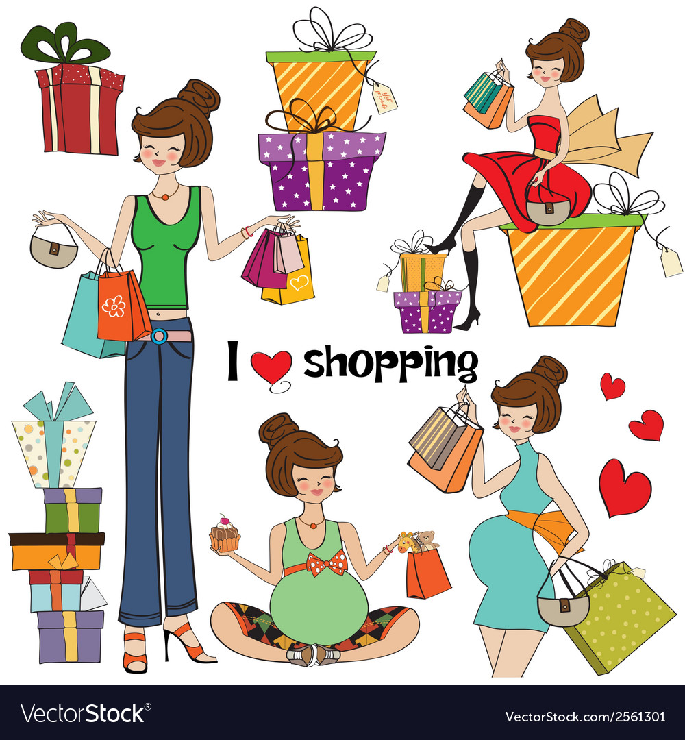 Girls at shopping items set on white background vector | Price: 1 Credit (USD $1)