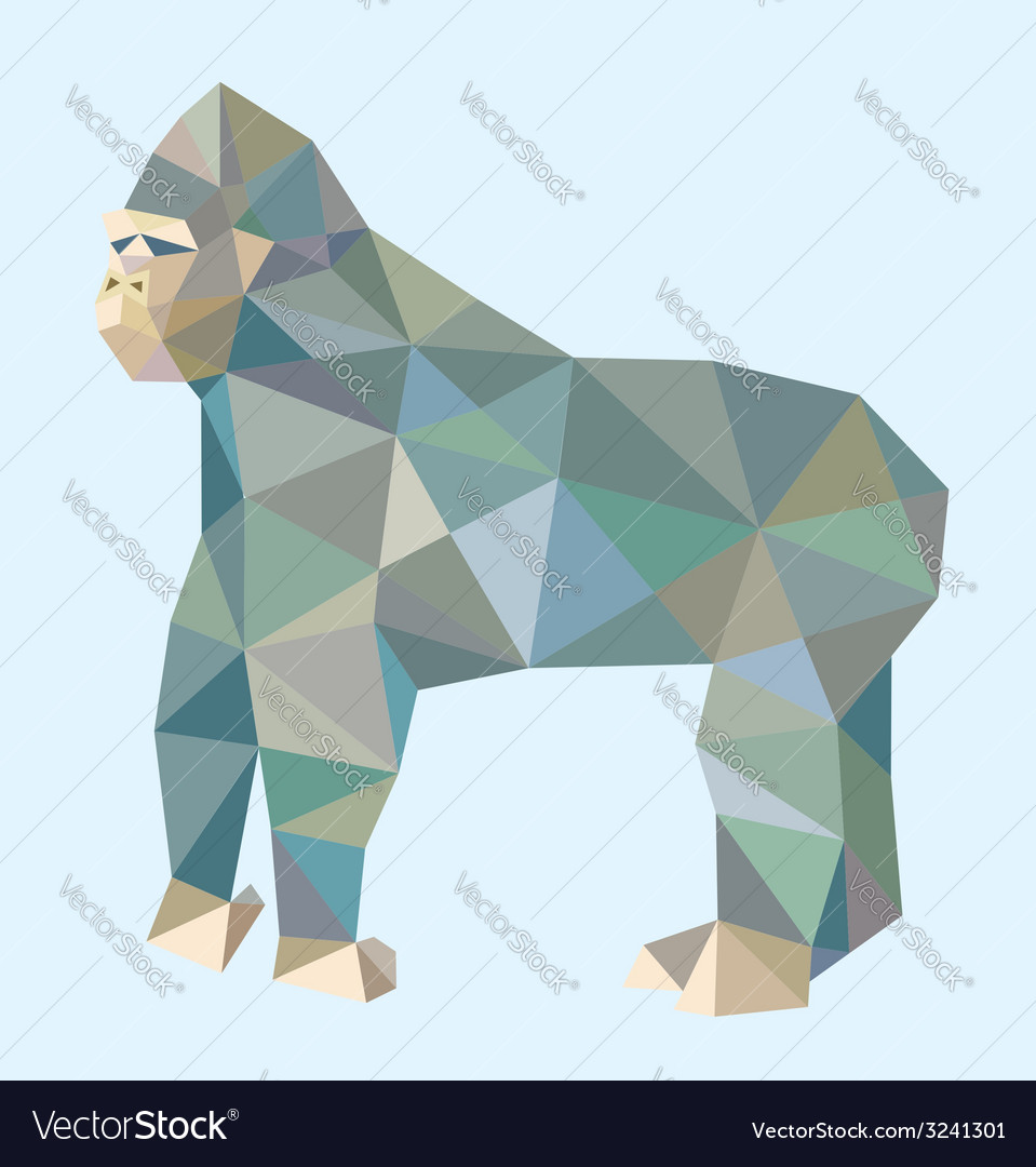 Gorilla low polygon style vector | Price: 1 Credit (USD $1)