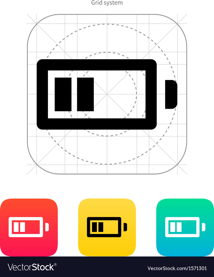 Half charge battery icon vector | Price: 1 Credit (USD $1)