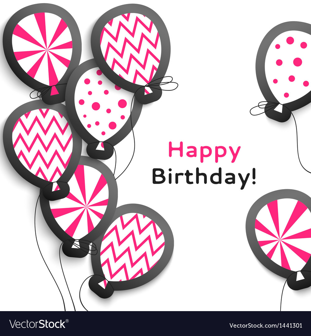 Happy birthday postcard with balloons vector | Price: 1 Credit (USD $1)