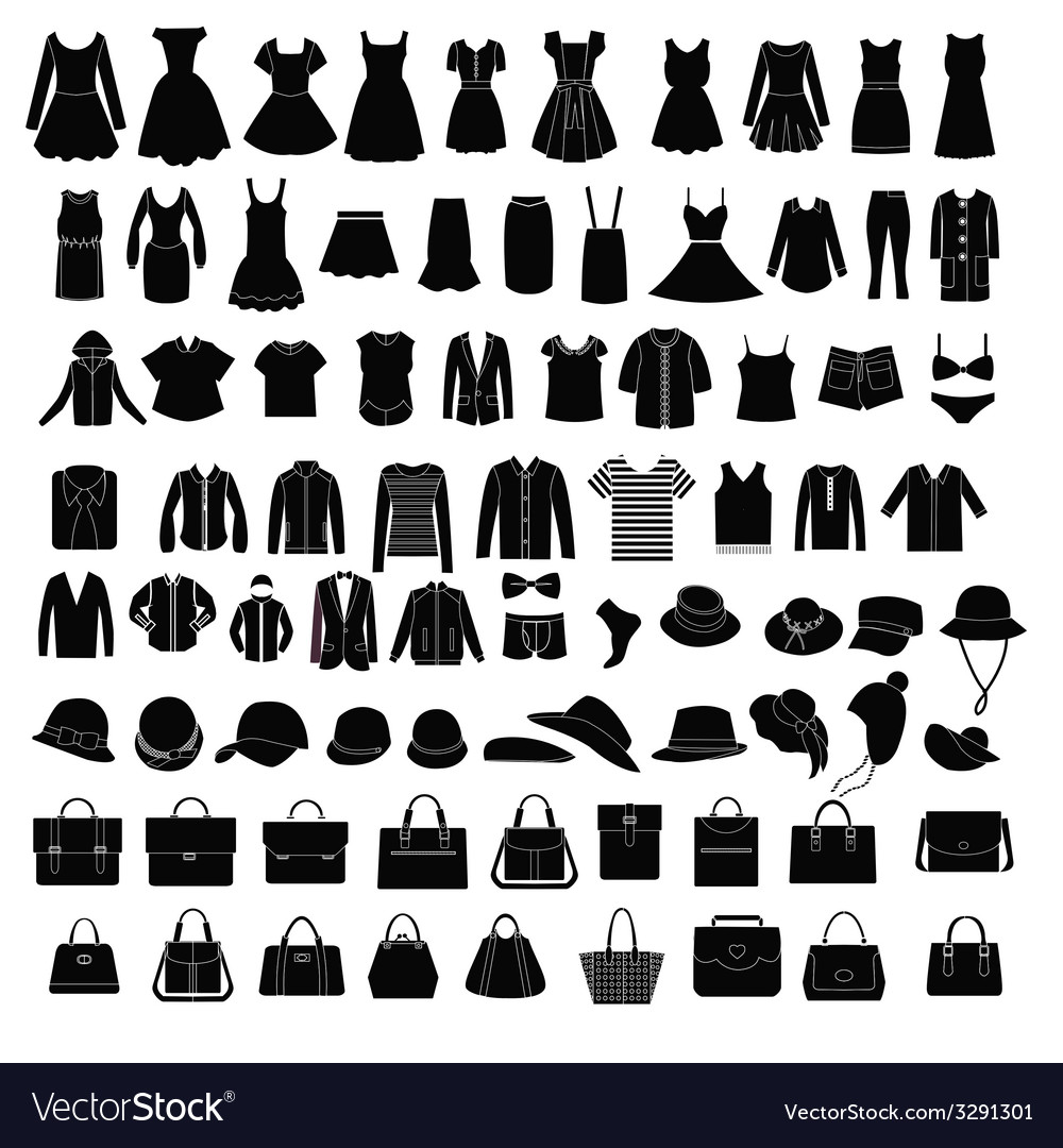 Men and women clothes and accessories silhouette vector | Price: 1 Credit (USD $1)