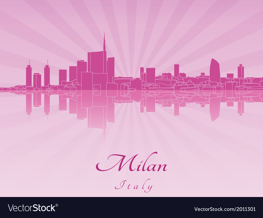 Milan skyline in purple radiant orchid vector | Price: 1 Credit (USD $1)