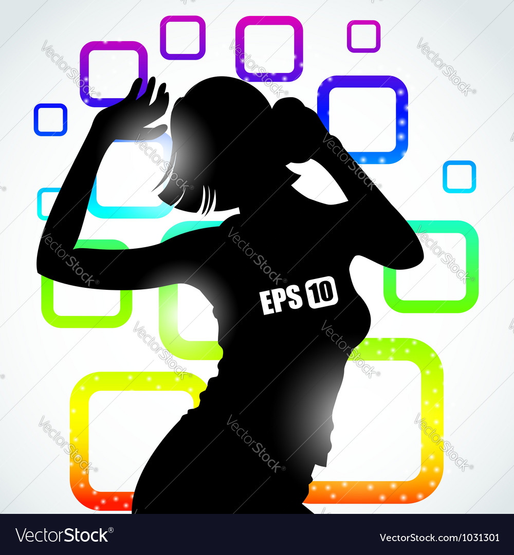 Music girl silhouette vector | Price: 1 Credit (USD $1)