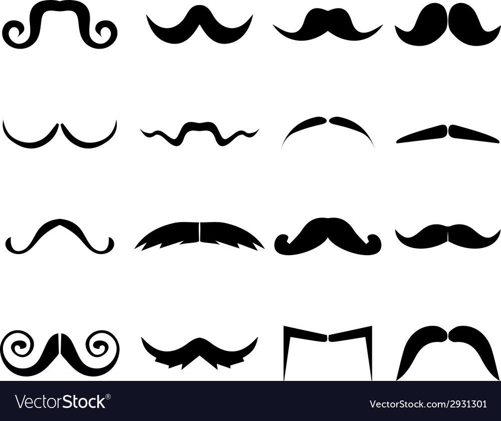 Mustache icons set vector | Price: 1 Credit (USD $1)