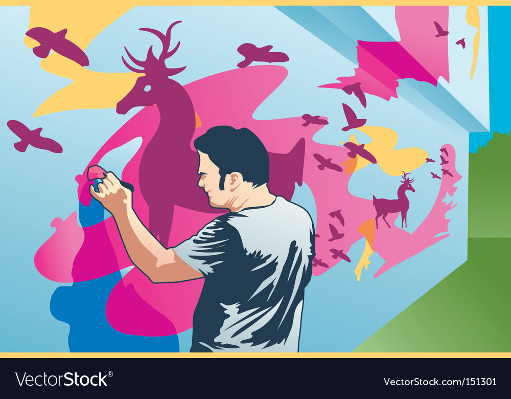 Painter man vector | Price: 1 Credit (USD $1)