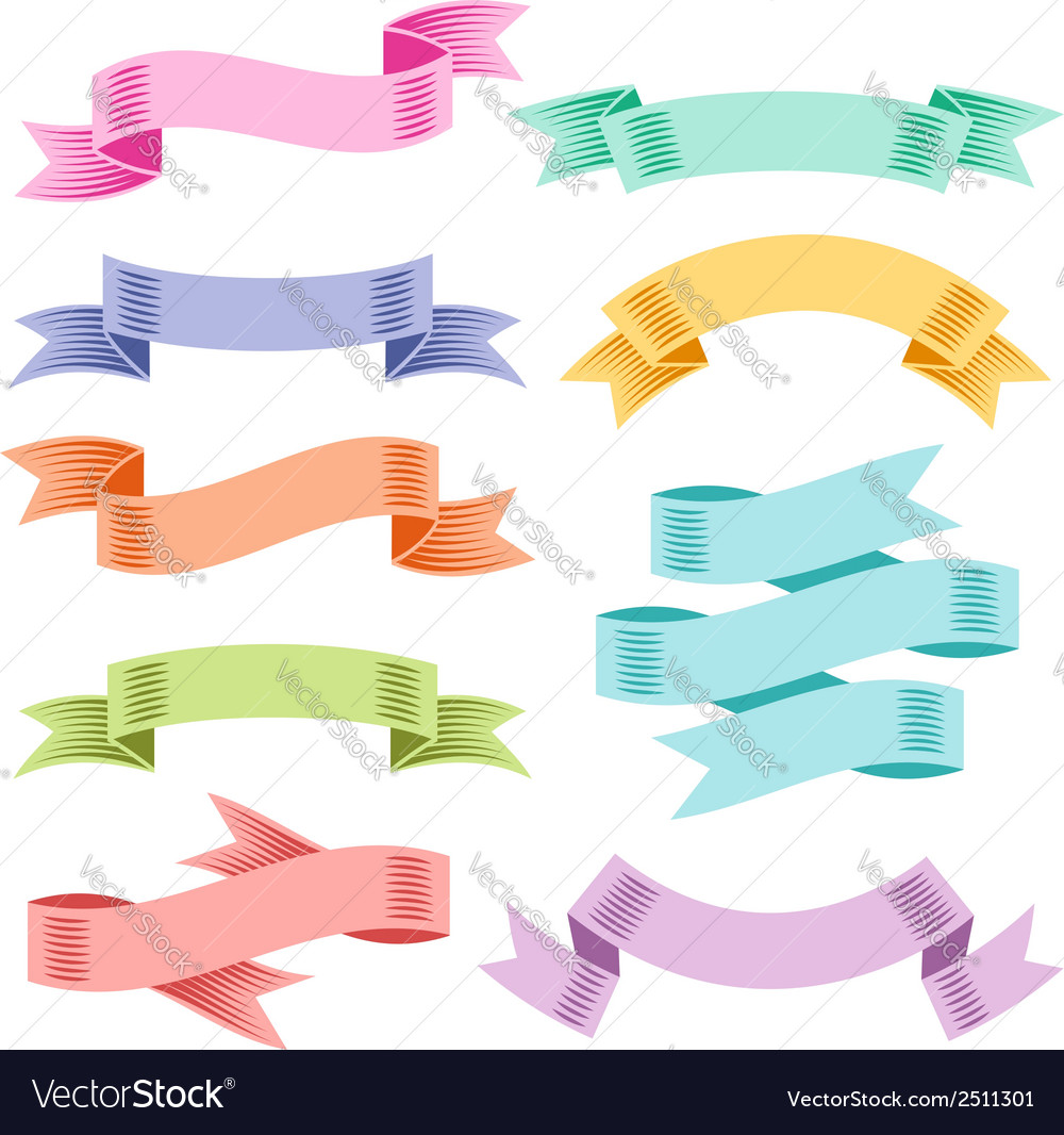 Ribbons set color vector   Price: 1 Credit (USD $1)
