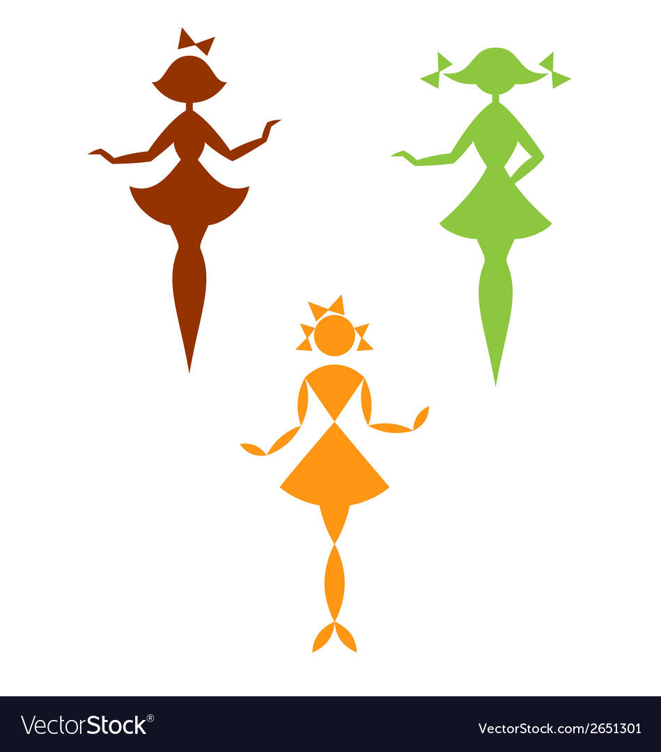 Set of silhouettes of girls vector | Price: 1 Credit (USD $1)