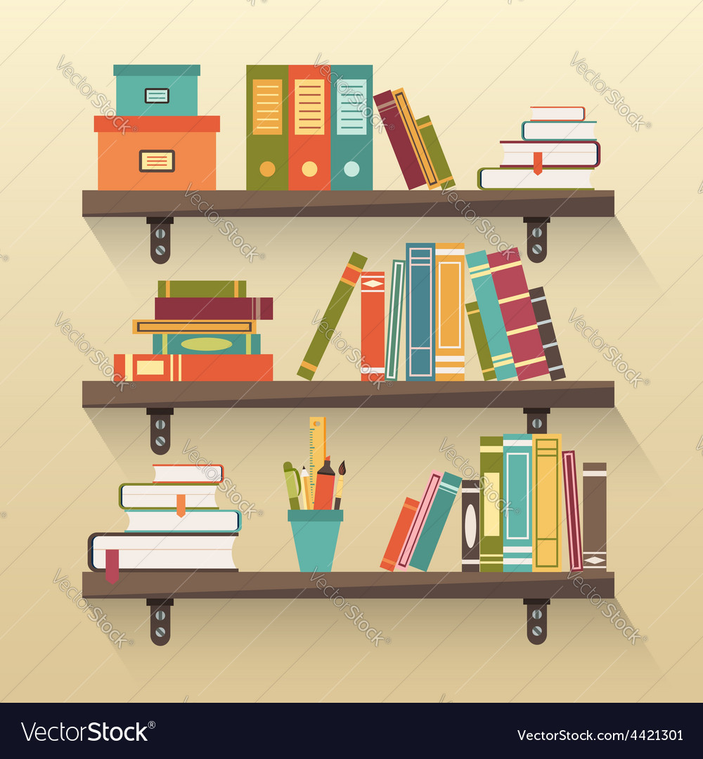 Shelves with colorful books vector | Price: 1 Credit (USD $1)