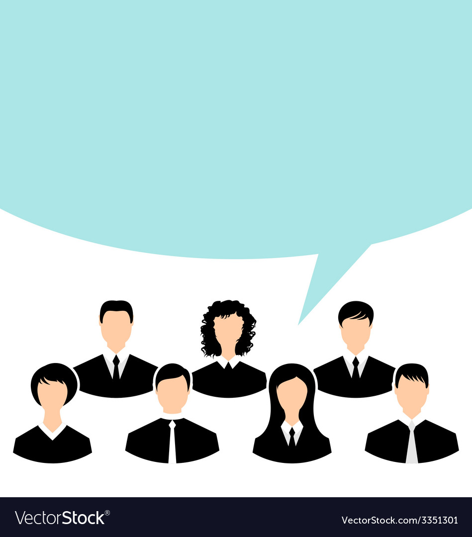 Unity of business people team with speech bubble - vector | Price: 1 Credit (USD $1)