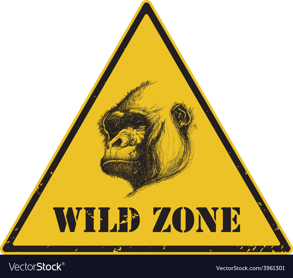 Warning sign danger signal with gorilla eps 8 vector | Price: 1 Credit (USD $1)