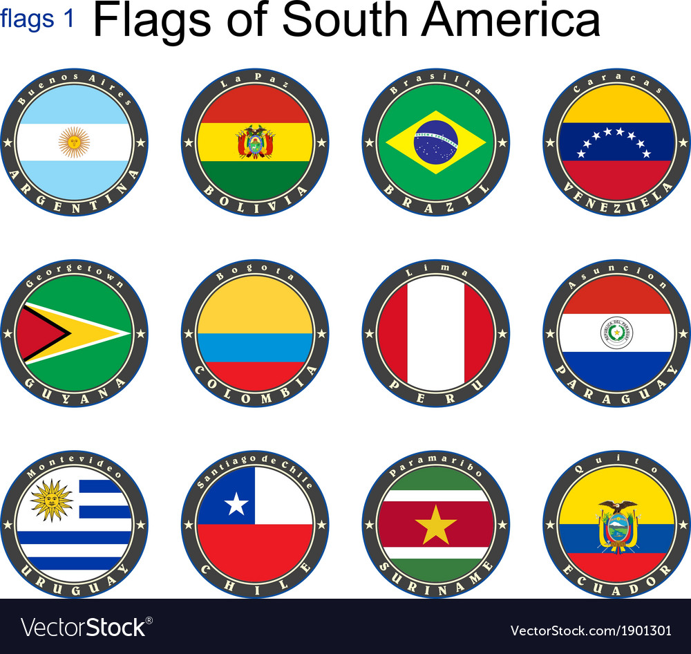 World flags south america vector | Price: 1 Credit (USD $1)