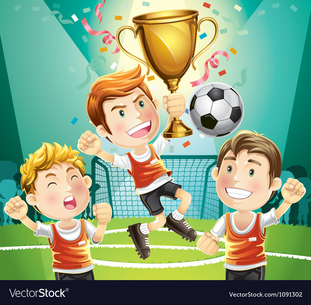 Childrens soccer champion vector | Price: 1 Credit (USD $1)
