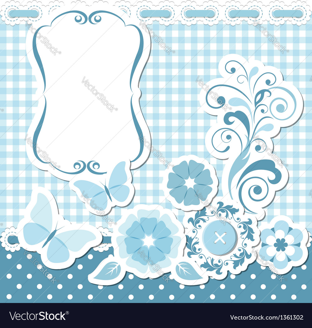 Floral scrapbook blue set vector | Price:  Credit (USD $)