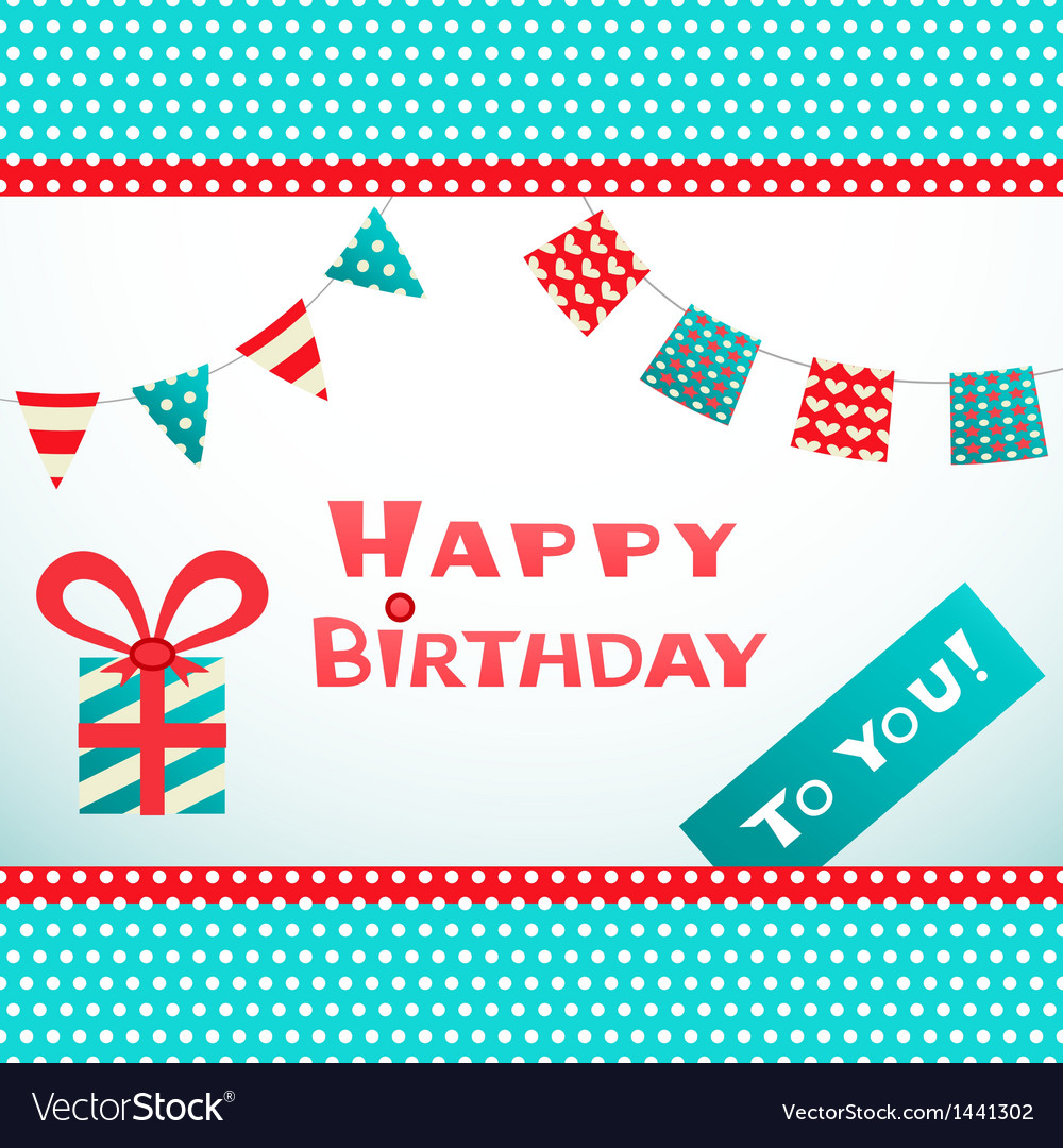 Happy birthday retro postcard with dot textured vector | Price: 1 Credit (USD $1)