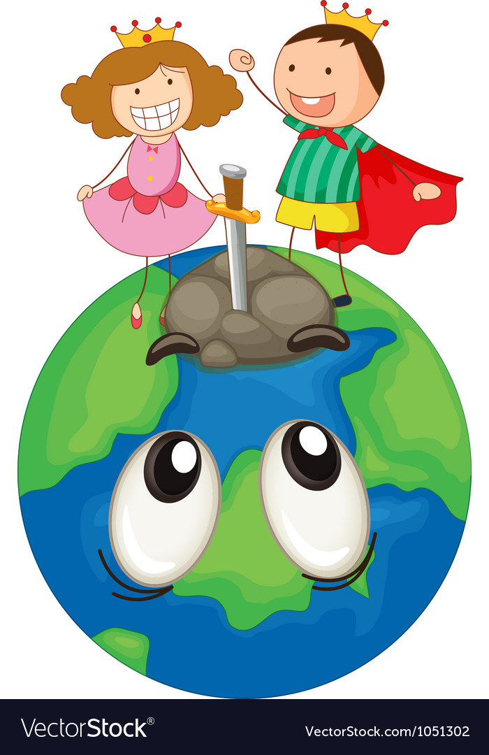 Kids on earth planet vector | Price: 3 Credit (USD $3)
