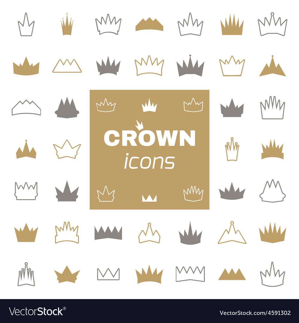 Set of crown icons vector | Price: 1 Credit (USD $1)
