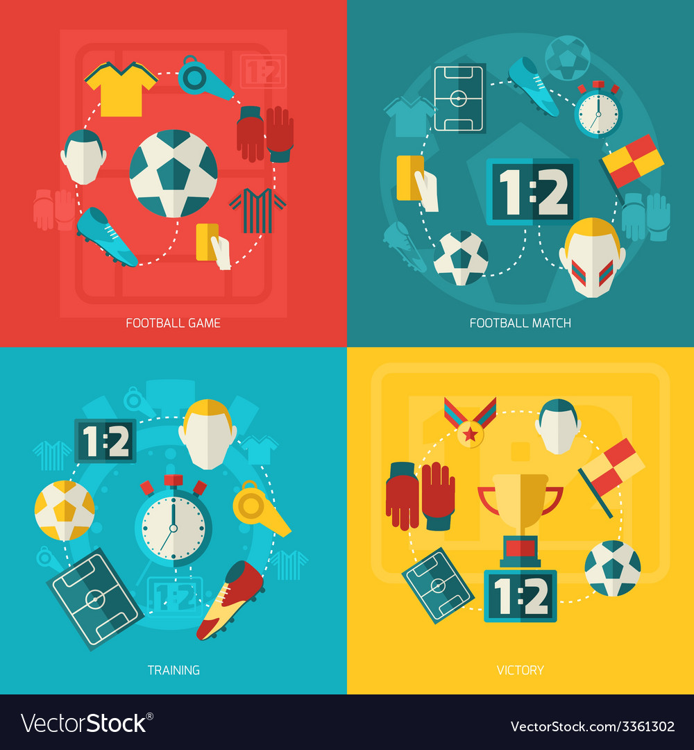 Soccer icons flat vector   Price: 1 Credit (USD $1)