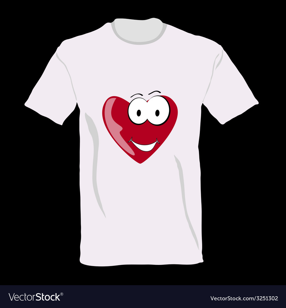T-shirt with heart on it vector | Price: 1 Credit (USD $1)