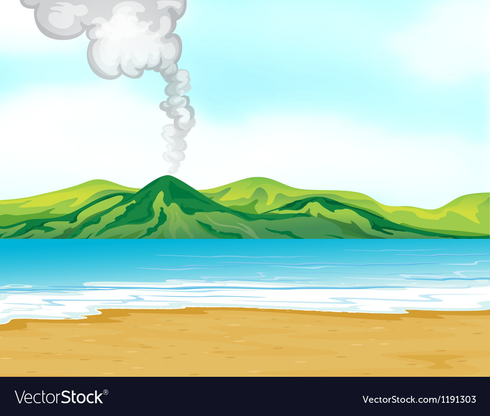 A view of the beach near a volcano vector | Price: 1 Credit (USD $1)