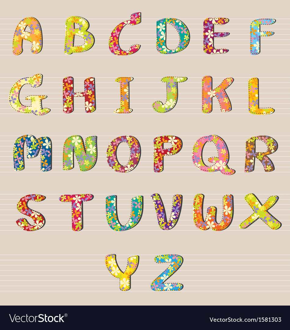 Alphabet flowers design a-z vector | Price: 1 Credit (USD $1)