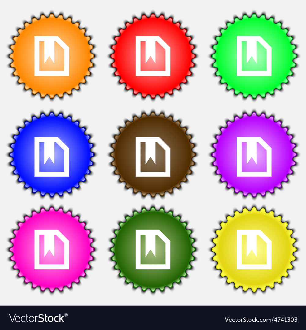 Bookmark icon sign a set of nine different colored vector | Price: 1 Credit (USD $1)