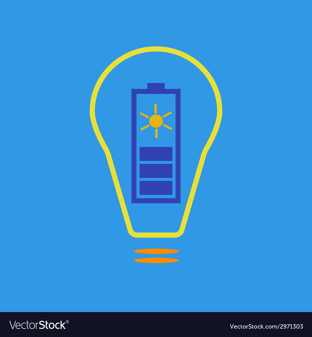 Bulb with solar battery as eco energy sign vector | Price: 1 Credit (USD $1)