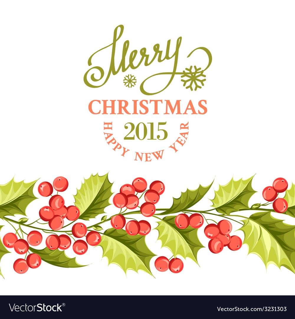Christmas mistletoe border vector | Price: 1 Credit (USD $1)