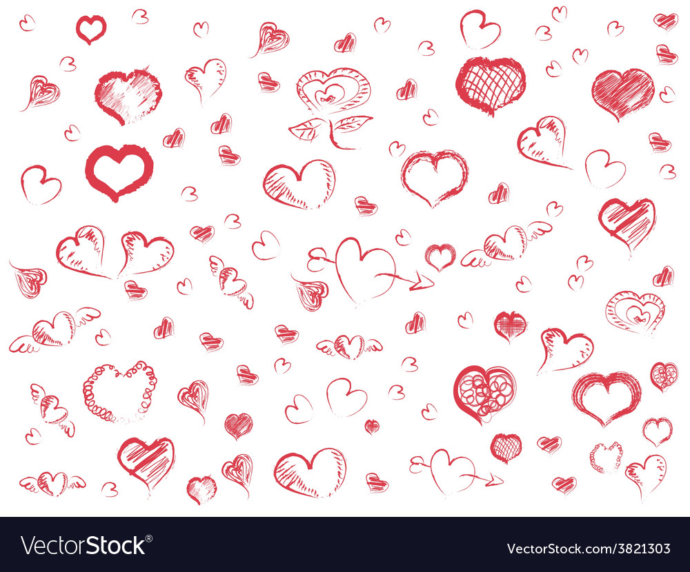Doodle red hearts seamless pattern background vector | Price: 1 Credit (USD $1)