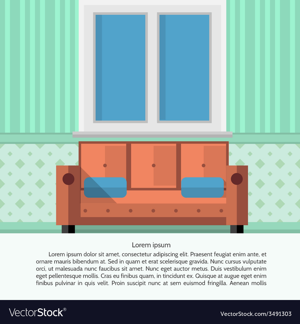 Flat of living room interior vector | Price: 1 Credit (USD $1)