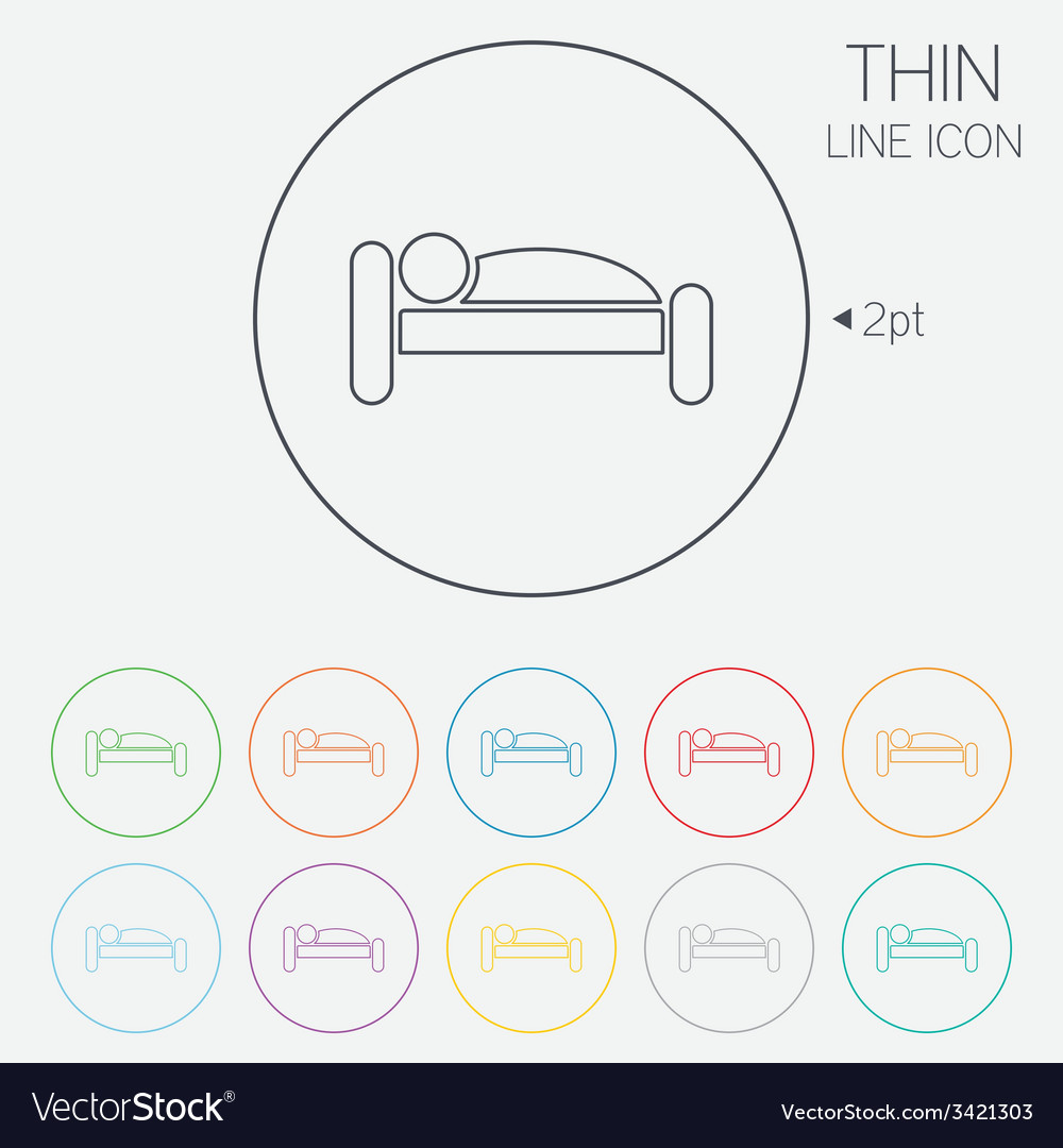 Human in bed icon rest place sleeper symbol vector   Price: 1 Credit (USD $1)