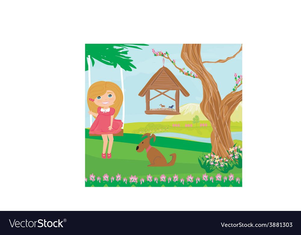 Little girl swinging vector