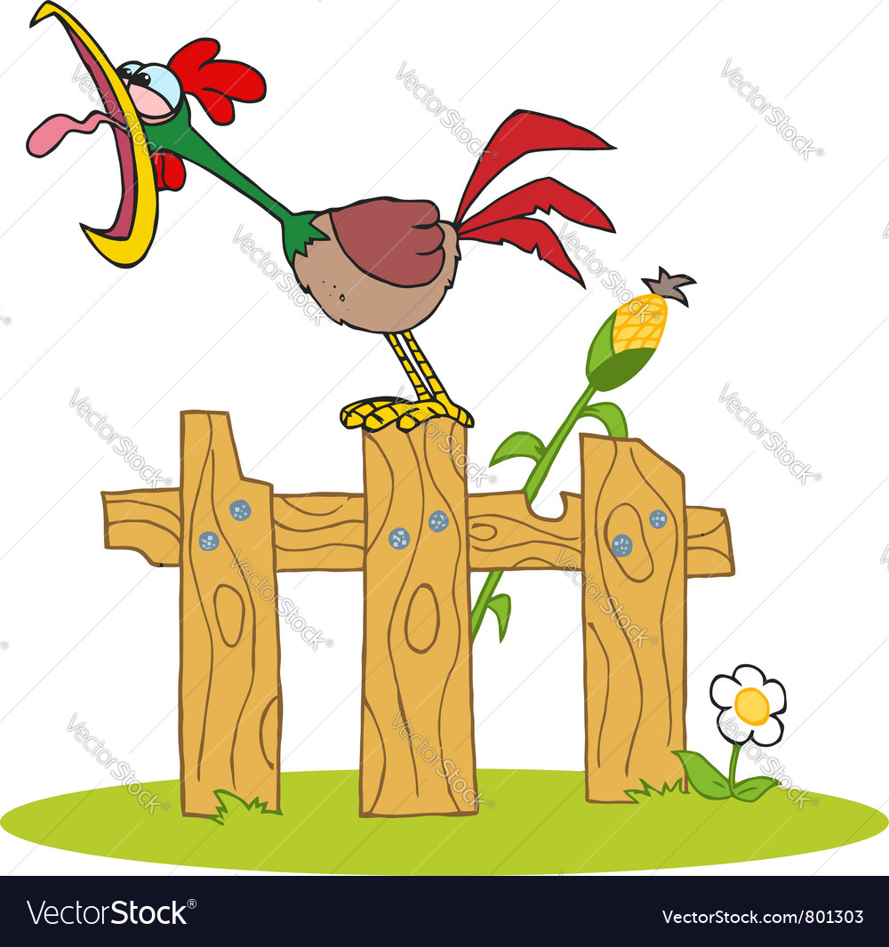 Loud rooster crowing on a wood fence vector | Price: 1 Credit (USD $1)