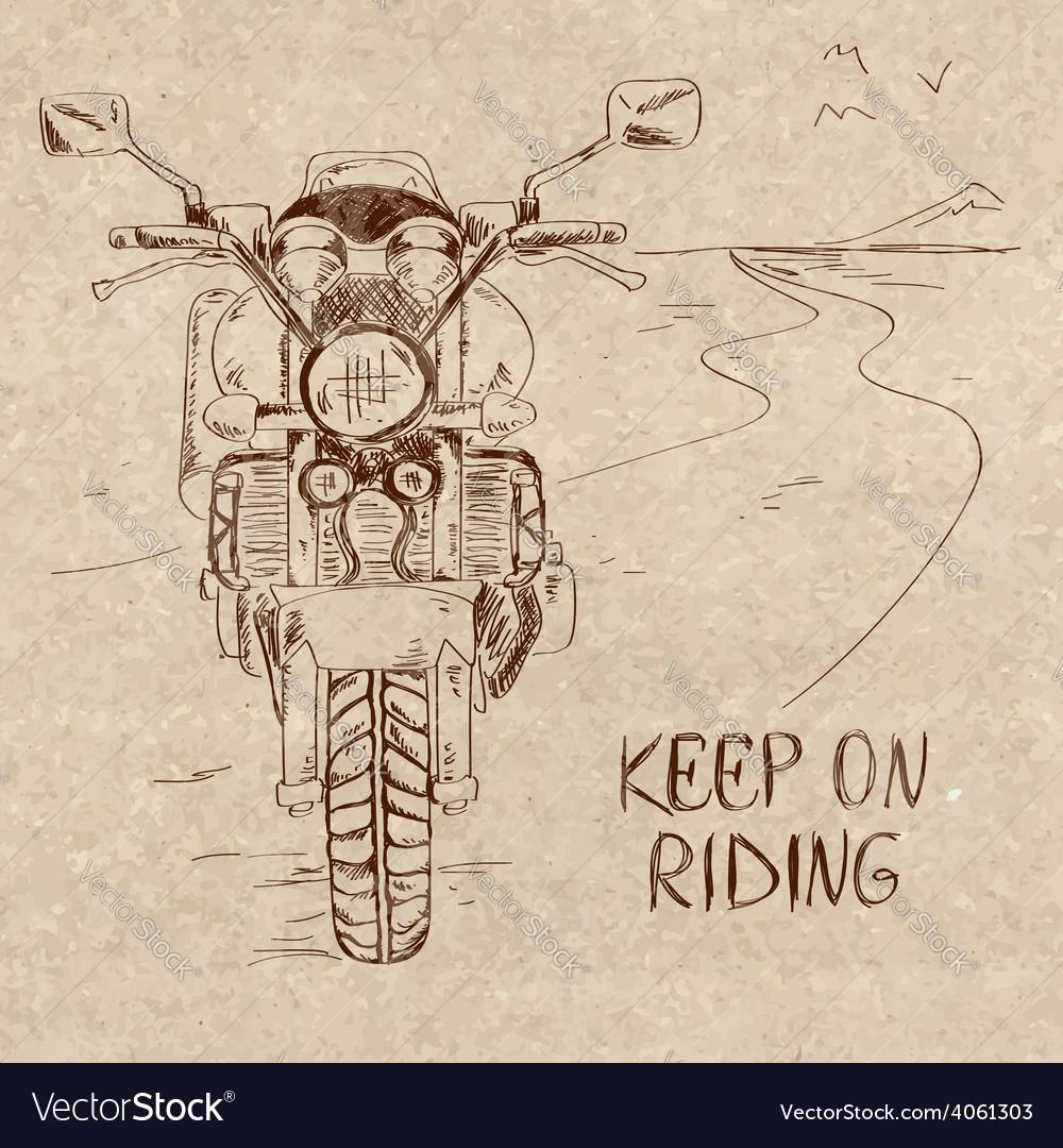 Retro sketch with motorbike vector   Price: 1 Credit (USD $1)