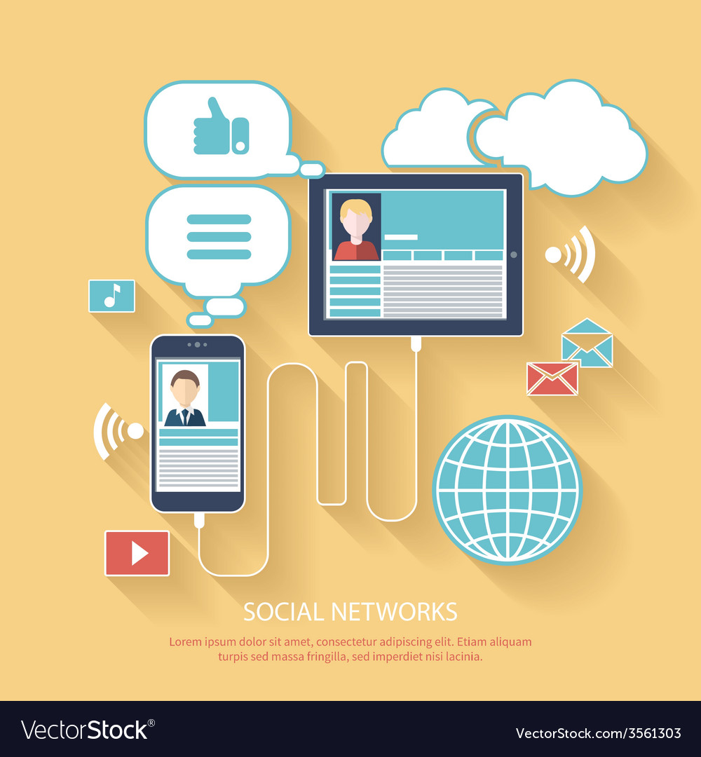 Social networks cloud of application icons vector | Price: 1 Credit (USD $1)